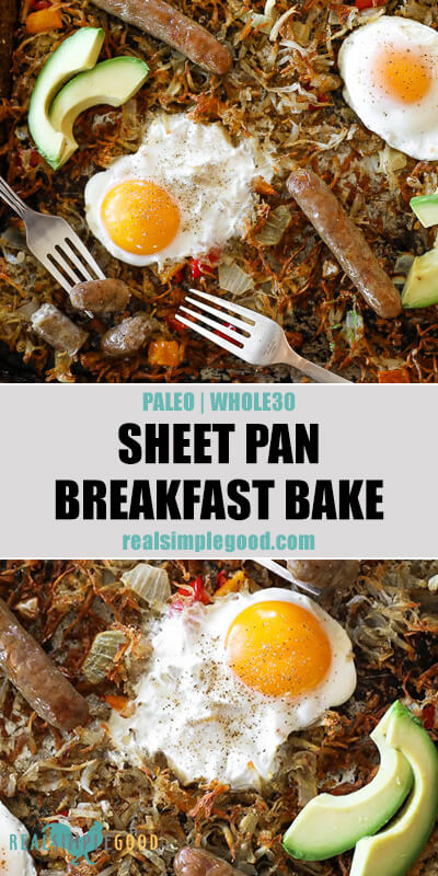 Two vertical close up images of sheet pan breakfast bake on a pan with text overlay in the middle.