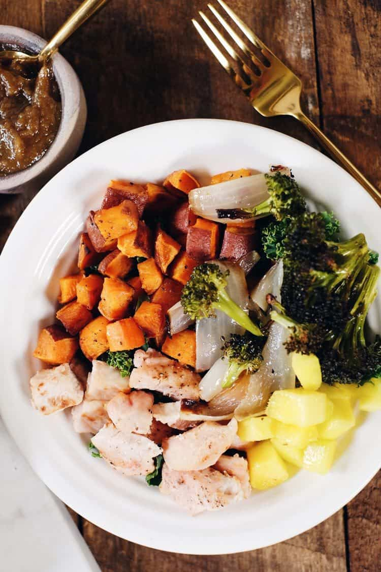 Go ahead and make these delicious sheet pan chicken buddha bowls! The perfect Paleo + Whole30 meal for making ahead of time for leftovers! Chicken, broccoli, sweet potato, mango, onion and tahini sauce. Paleo + Whole30. | realsimplegood.com