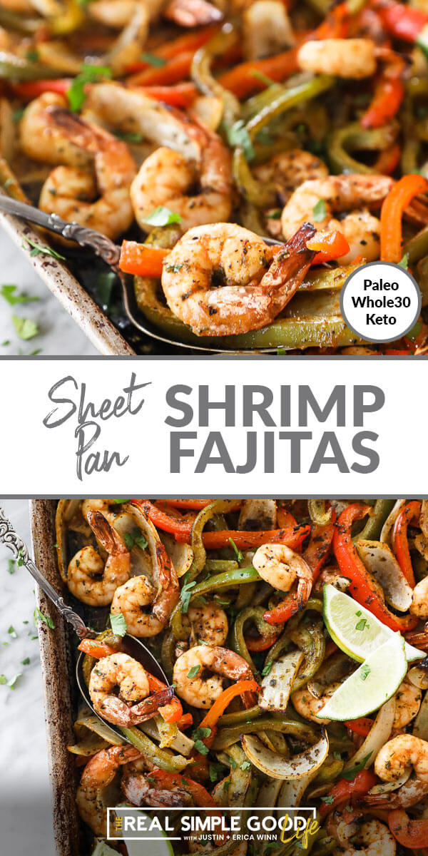 Split image with text in middle. Close up angle of shrimp and peppers in a spoon on top and overhead shot of sheet pan shrimp fajitas at bottom