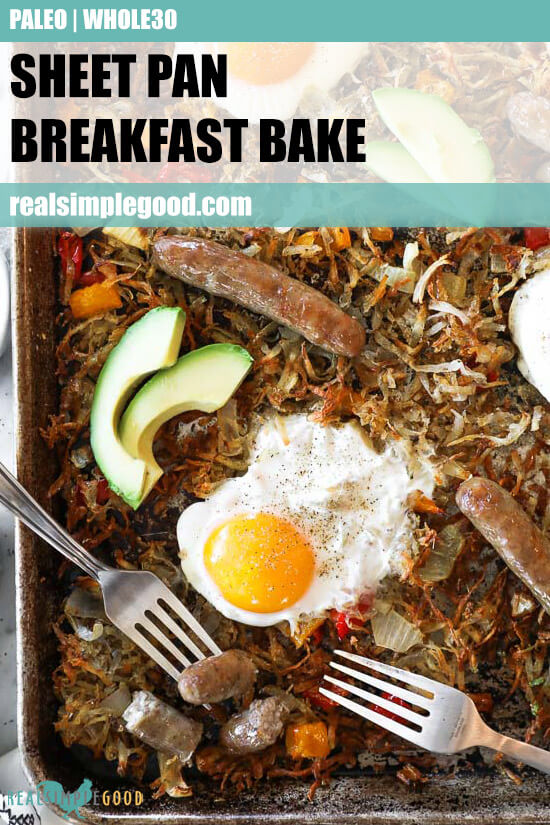 Close up of sheet pan breakfast bake on a pan with text overlay at the top.
