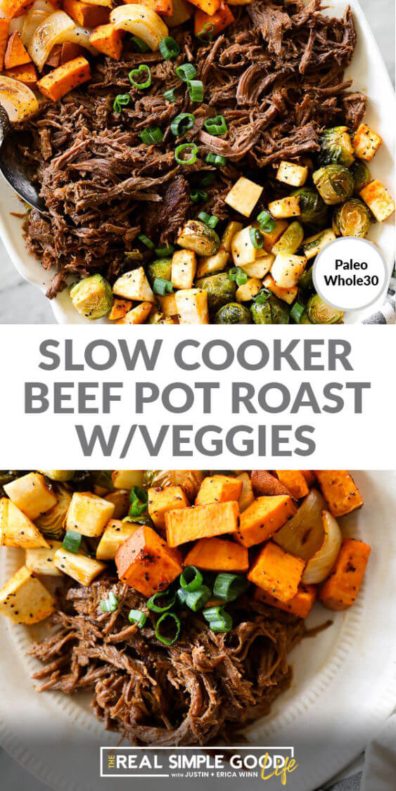 Split image of slow cooker beef pot roast with text in middle. Shredded beef roast on top and roast on a plat with veggies on bottom.