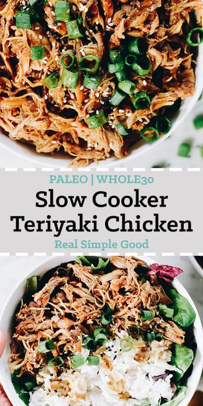 Slow cooker teriyaki chicken in a bowl with white rice, greens and teriyaki sauce long pin