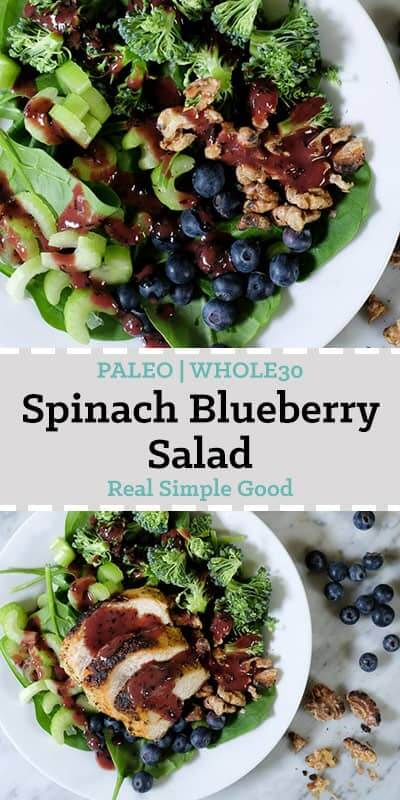Spinach blueberry salad topped with chicken long pin.