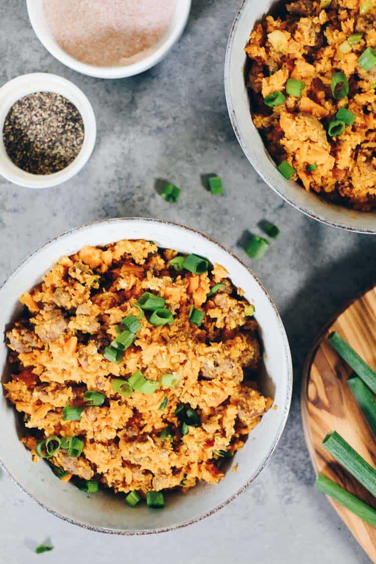 A delicious and healthy twist on pork fried rice, both Paleo and Whole30 compliant! This sweet potato pork fried rice is a unique recipe with tons of flavor. #paleo #whole30meals #recipe | realsimplegood.com