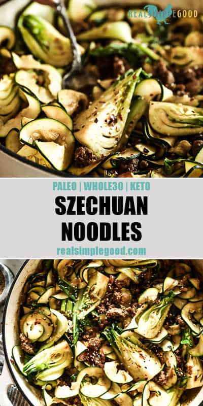 Two close up images of Szechuan noodles in skillet with text overlay in the middle for pinterest.