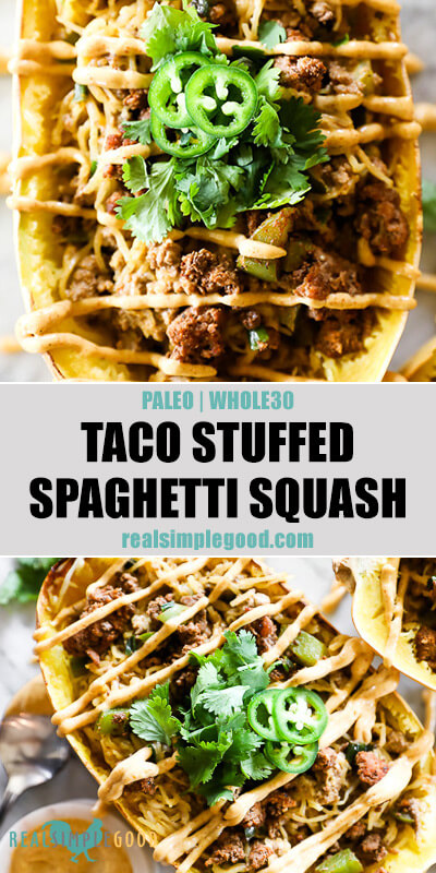 Taco stuffed spaghetti squash split image with text in middle. Vertical close up of squash with sauce on top and squash at angle on bottom.