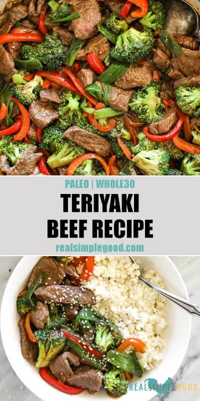 Split image with text in middle. Close up of teriyaki beef in pan on top and teriyaki beef in bowl with cauliflower rice on bottom.