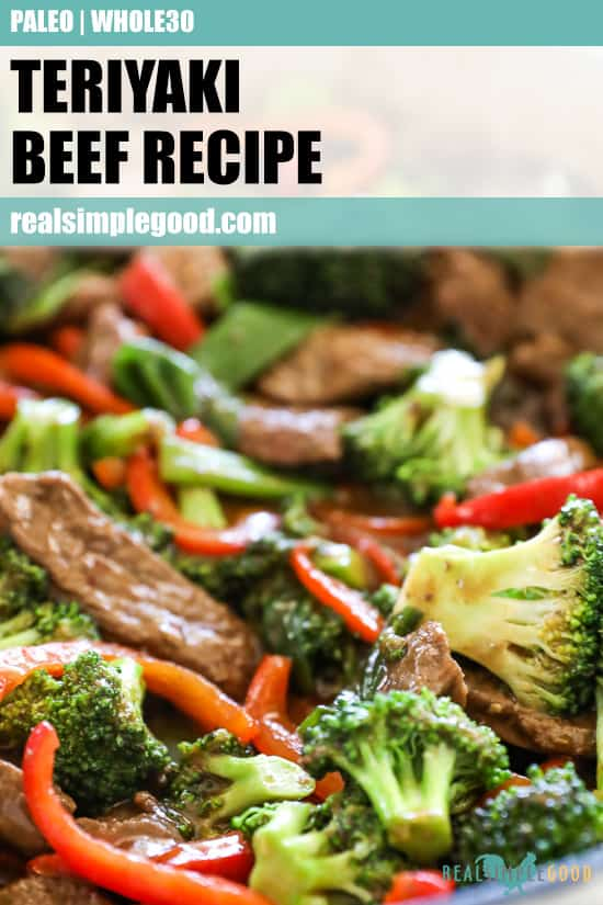Close up of teriyaki beef recipe in pan with broccoli and peppers. Text on top for pinterest