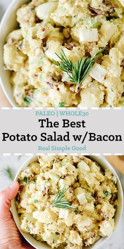 The best potato salad with bacon in a bowl with rosemary long pin