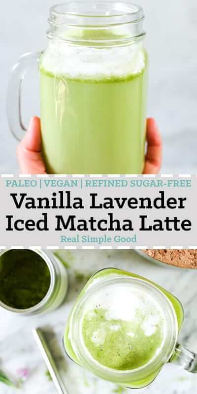 Iced matcha latte in a mason jar mug long pin.