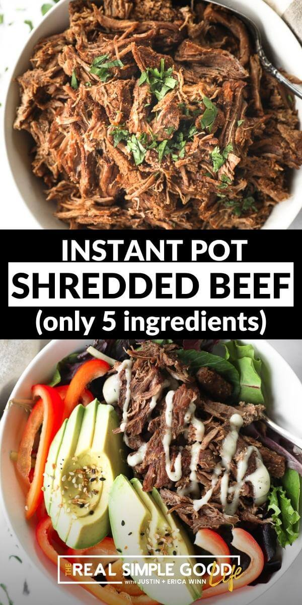 Split image with text in middle. Overhead shot of shredded beef in a bowl on top and beef over greens with bell pepper and avocado on bottom