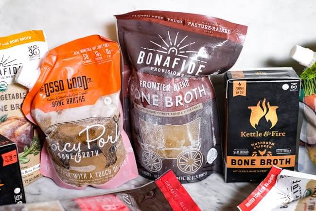 Several options displayed of brands for where to buy bone broth.