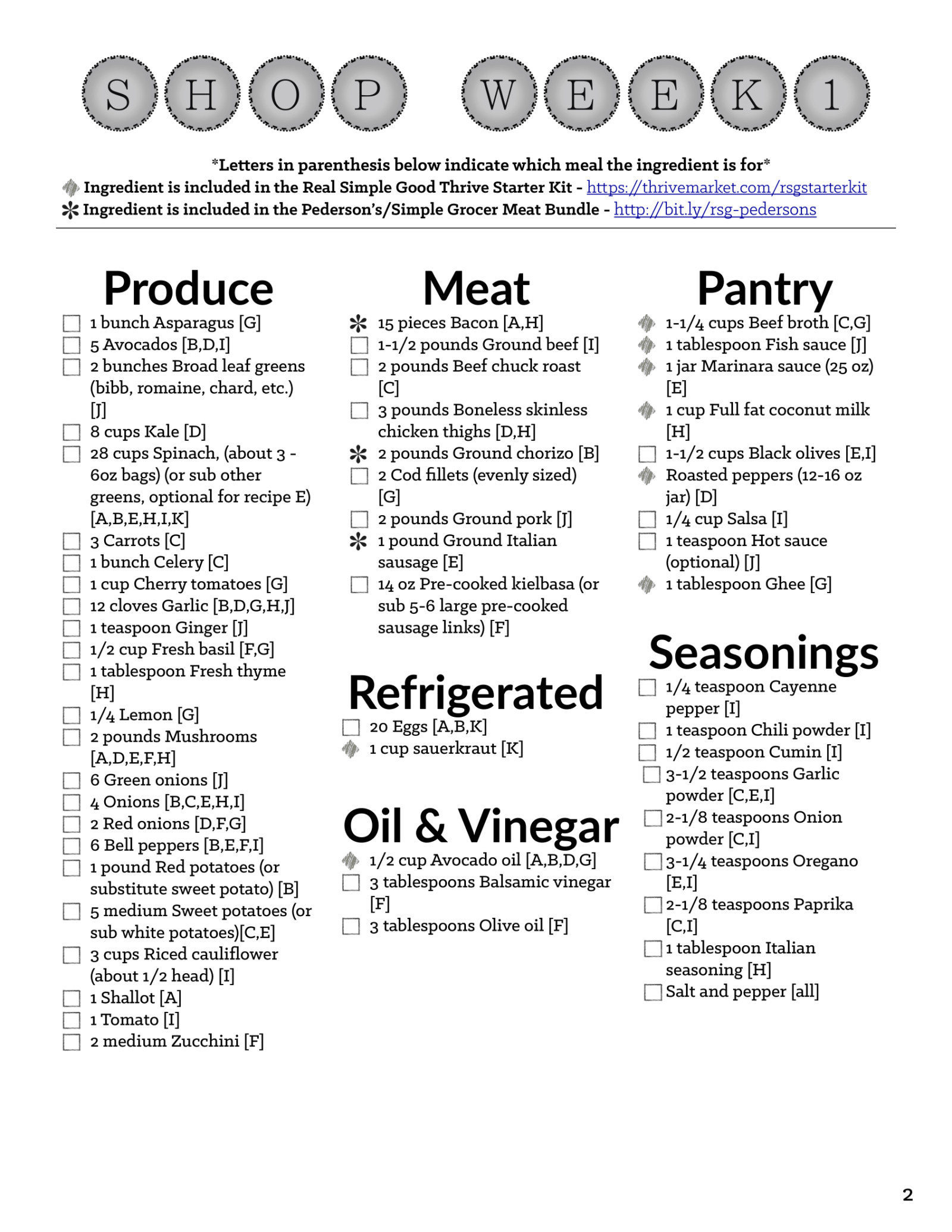 Image of printable Whole 30 Meal Plan shopping list