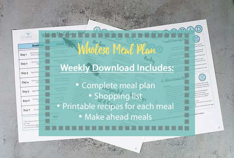 whole30 meal plan shopping list images with text