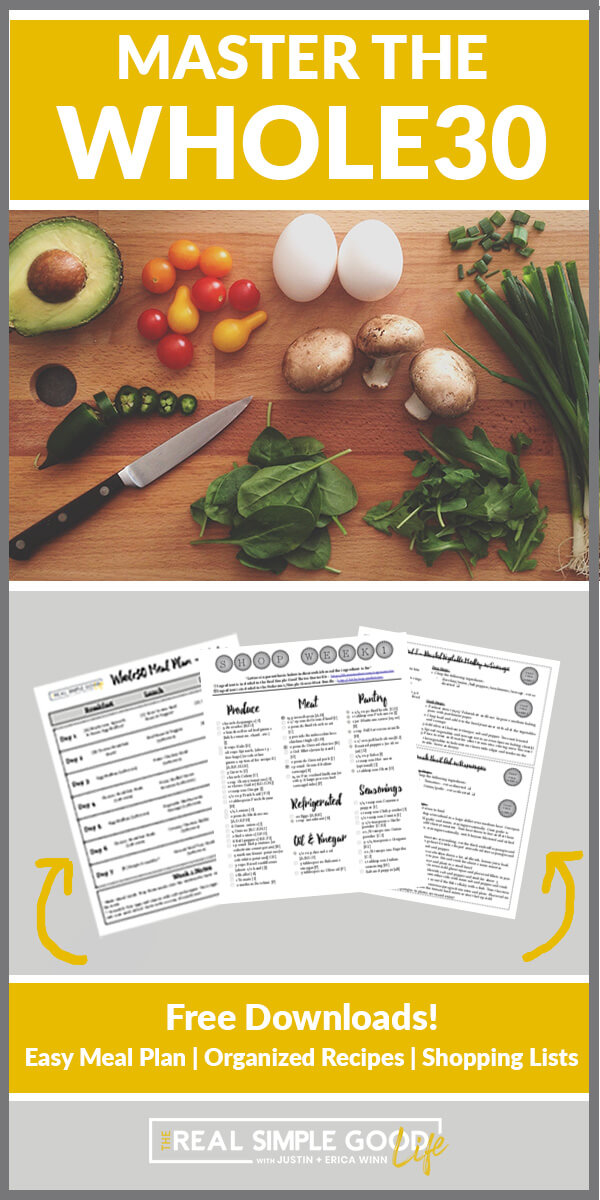 Split image with Master the Whole30 text a top. Veggies on cutting board middle. Printables at bottom with free downloads text overlay.