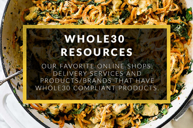 Creamy sweet potato noodle chicken skillet with whole30 resources text overlay