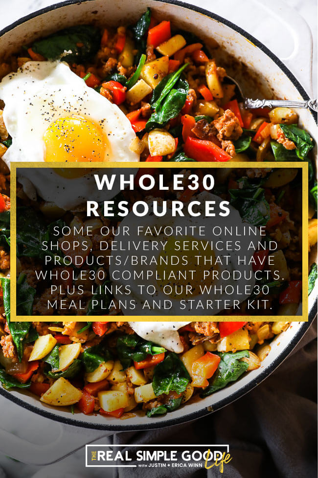 Breakfast skillet with egg on top and whole30 resources text overlay
