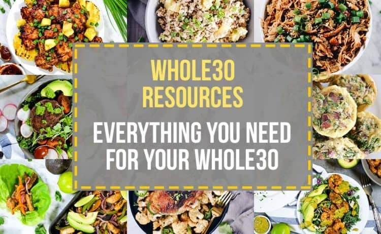 Whole30 Resources collage with text