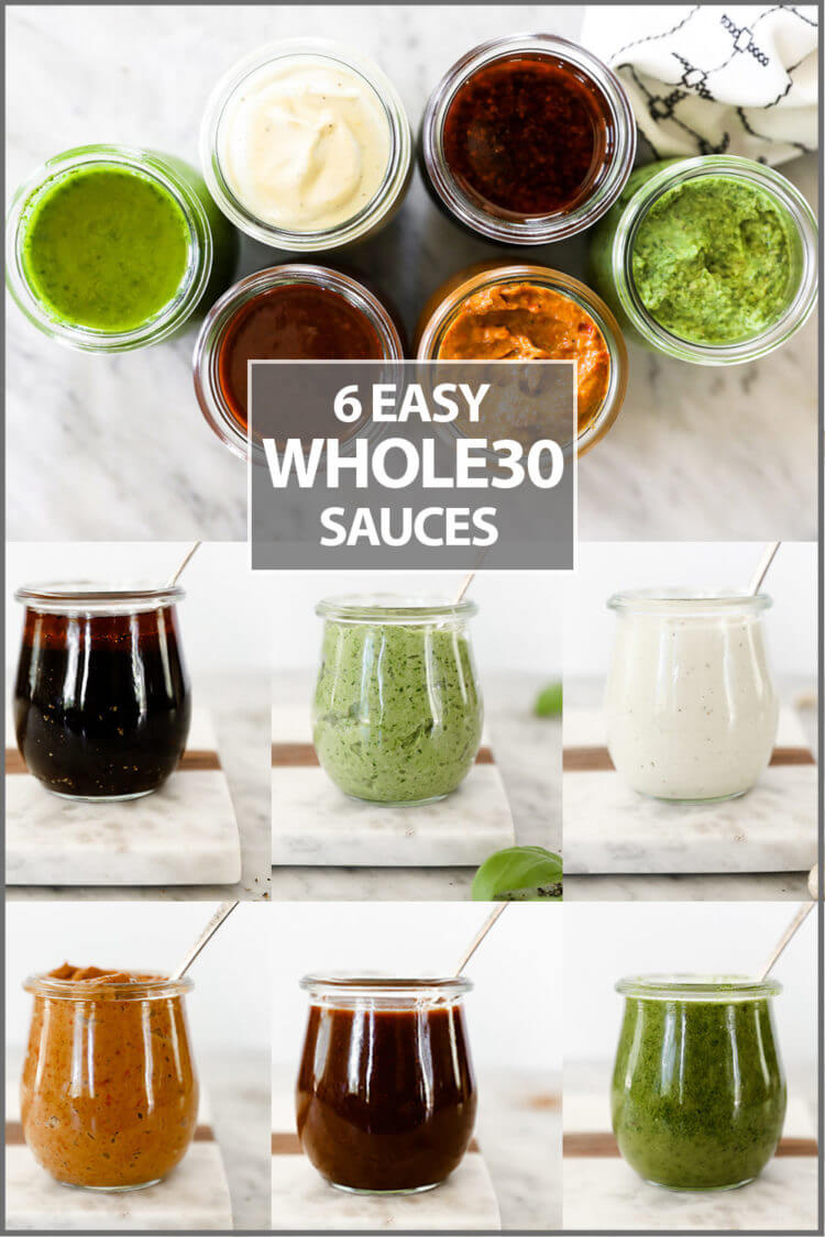 6 easy whole30 sauced collage image. 6 jars on top and individual jars at bottom with text in middle
