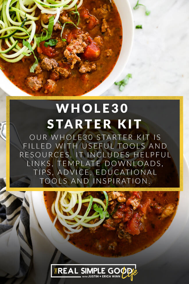 Beef soup bowls with whole30 starter kit text overlay