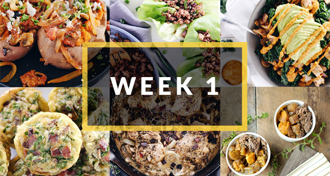 whole30 meal plan week one collage