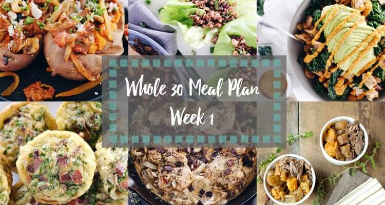 Whole30 Meal Plan week 1 collage