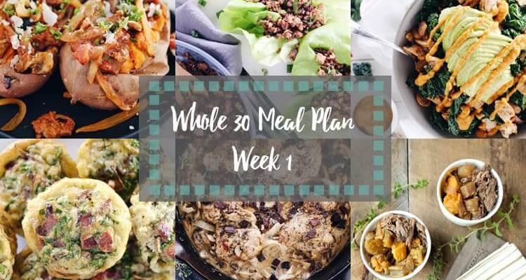 Whole30 Meal Plan week 1 collage