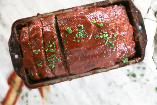 Whole30 Paleo Meatloaf in pan horizontal image