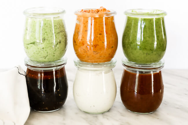 6 easy whole30 sauces in jars stacked 3 x 3 horizontal image
