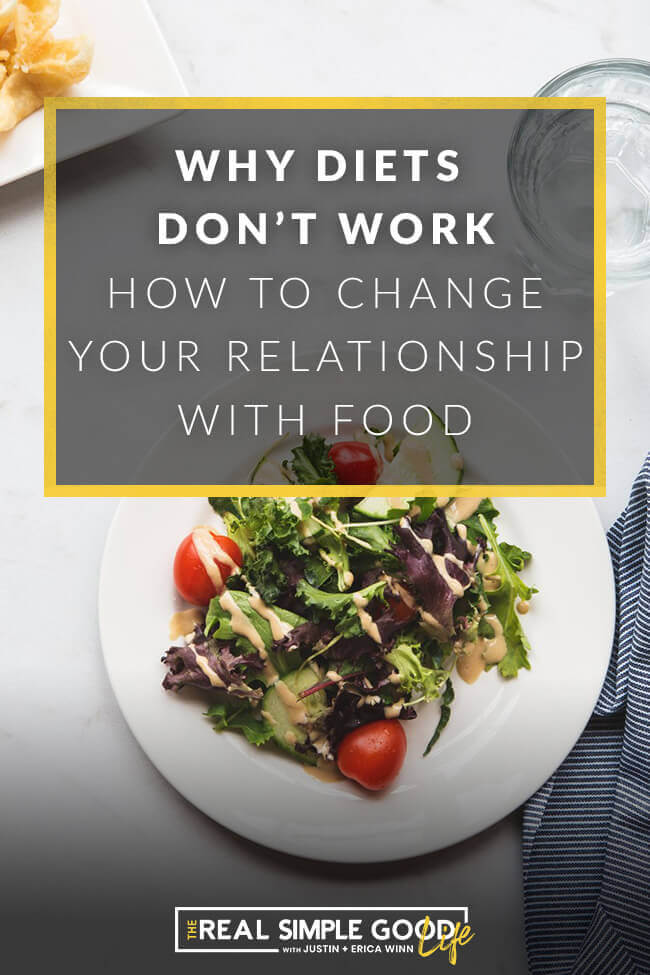 Picture of a salad plate with text overlay of why diets don't work, how to change your mindset about eating