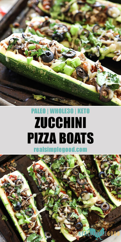 Two vertical images of zucchini pizza boats on sheet pan with text in the middle. Loaded with marinara sauce, italian sausage, bell pepper, mushrooms, olives and cheese. Fresh basil sprinkled on top.